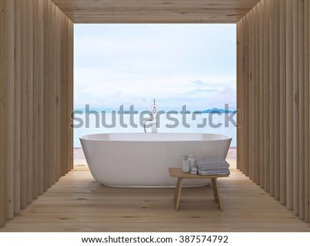Modern luxury bathroom interior. 3d rendering - stock photo