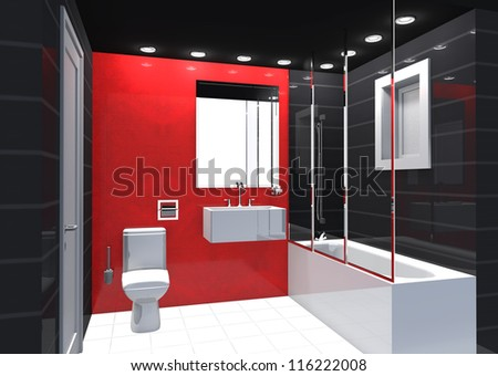 Modern Luxury Bathroom Red Black White Interior. No Brandnames Or Copyright  Objects.