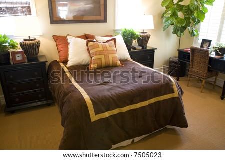 Modern luxury bedroom. - stock photo