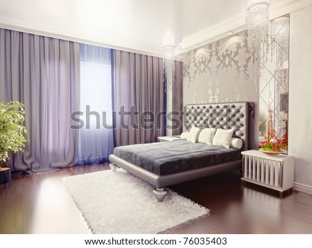 modern luxury  bedroom interior (3D rendering) - stock photo