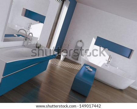 Modern luxury blue and white bathroom interior