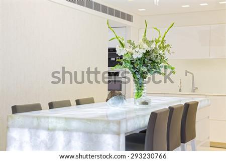 Modern Luxury design kitchen with white elements - stock photo