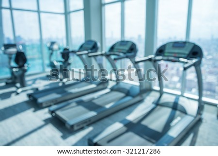 Modern luxury fitness center abstract blur background
