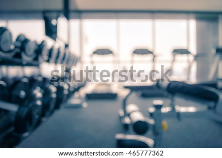 Modern luxury fitness center abstract blur background - Vintage filter effect