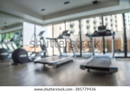Modern luxury fitness center city view abstract blur background