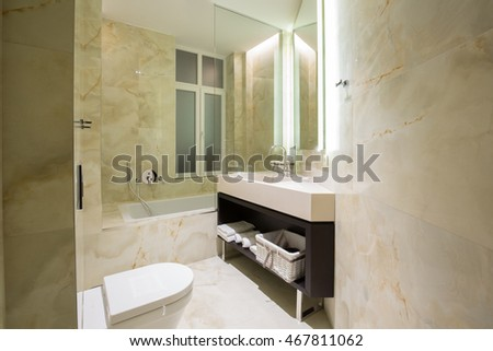 Modern luxury hotel bathroom interior