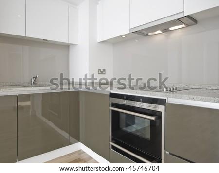 modern luxury kitchen with glossy surface finish - stock photo