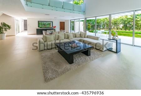 Modern luxury living room. Interior design. - stock photo