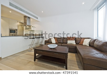 modern luxury open plan living room with breakfast bar - stock photo