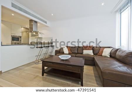 modern luxury open plan living room with breakfast bar - stock photo