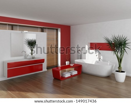 Modern luxury red and white bathroom interior - stock photo