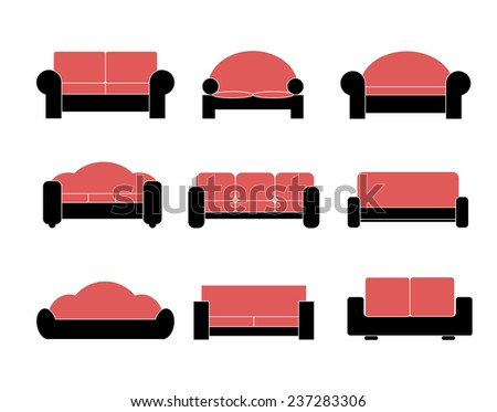 Modern luxury sofas and couches furniture icons set for living room - stock photo