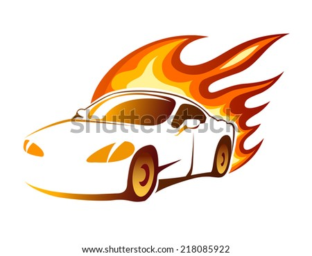 Modern luxury sporty coupe sports car with fiery orange burning flames depicting speed  illustration on white - stock photo