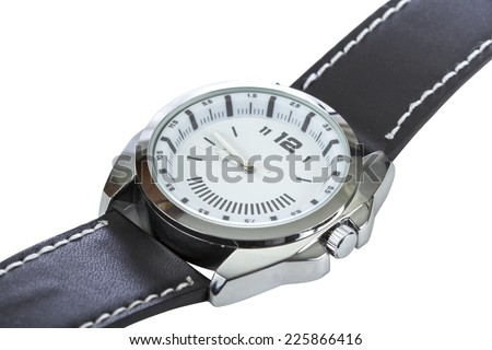 Modern luxury watch with black leather isolated over white background with clipping path - stock photo