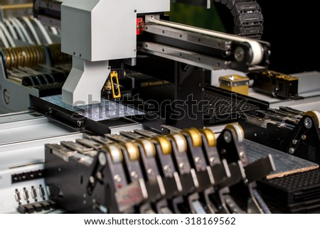 Modern machine for production of LED panels - stock photo