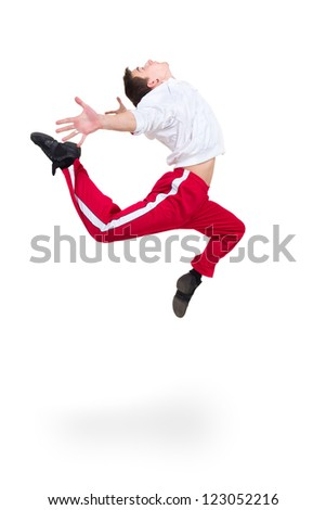 Modern man dancer jumping on a white background - stock photo