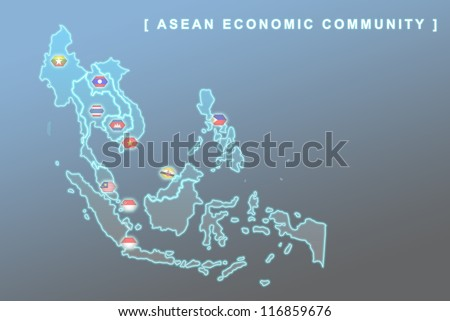 Modern map of South East Asia countries that will be member of AEC with each country flag symbols in background