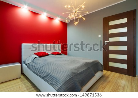 Modern master bedroom interior - stock photo