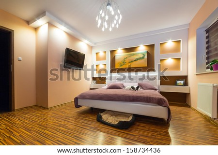 Modern master bedroom interior with dog lying on bed - stock photo