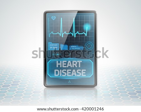 Modern medical tablet displaying diagnosis of cardiovascular disease - stock photo