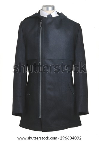 modern men coat in a shape of mannequin isolated in white background - stock photo