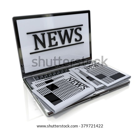 Modern metal glossy office laptop with news internet isolated on white background with reflection effect in the design of the information related to the online news