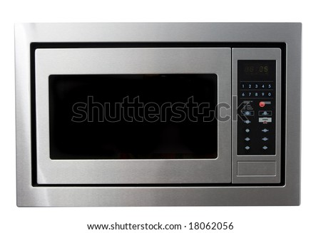 Modern metal microwave oven isolated on white with clipping path - stock photo