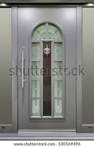 Modern Metallic Massive Gray Door - stock photo