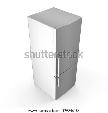 Modern metallic refrigerator isolated on white background - stock photo