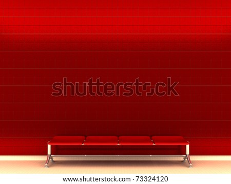 Modern metro station with red glossy tile wall - 3d illustration - stock photo