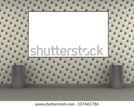 Modern metro station with white tile wall and empty ad space. 3d illustration - stock photo