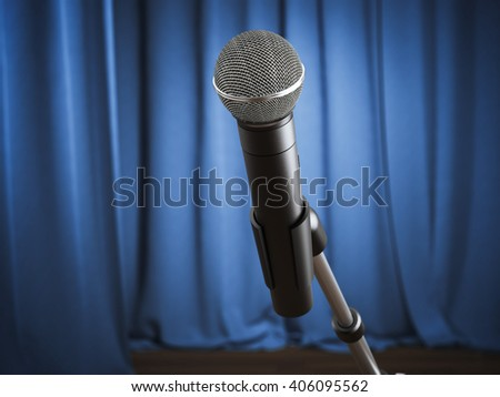 Modern microphone  with blue curtains on the stage. 3d rendering