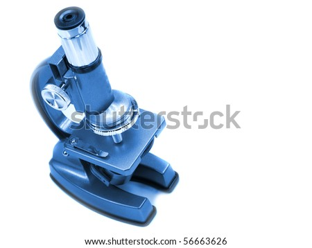 Modern Microscope isolated on white - stock photo