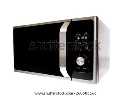 Modern Microwave With Grill. Isolated on White Background. - stock photo
