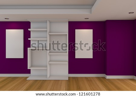 Modern Minimalist Empty Livingroom With Purple Wall Wood Floor
