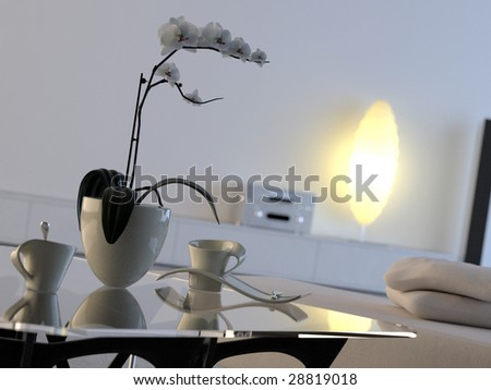Modern minimalist interior with orchid and lamp (3D render) - stock photo