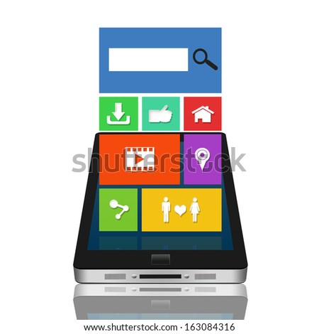Modern mobile gadget with color interface - stock photo