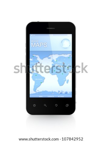 Modern mobile phone a world map.Isolated on white background.3d rendered.