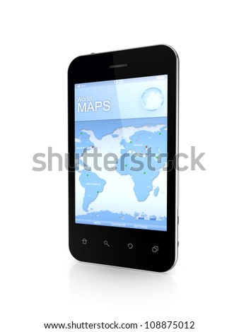 Modern mobile phone a world map.Isolated on white background.3d rendered. - stock photo