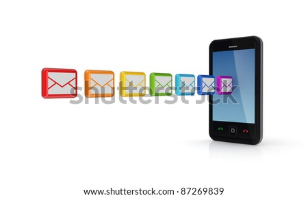 Modern mobile phone and colorful envelopes.Isolated on white background.3d rendered. - stock photo