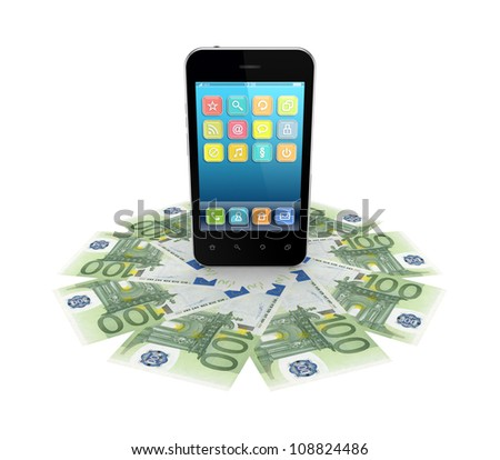 Modern mobile phone and euro banknotes. - stock photo