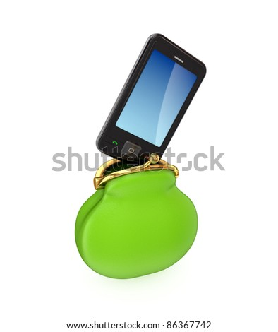 Modern mobile phone and vintage purse.Isolated on white background. - stock photo
