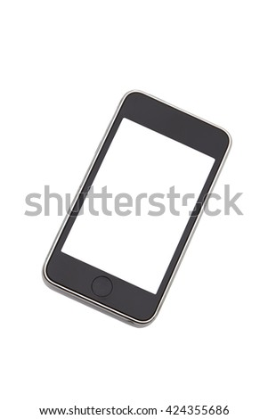 Modern mobile phone style mockup blank screen isolated on white background.