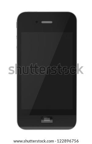 Modern Mobile phone with blank screen on a white background. - stock photo