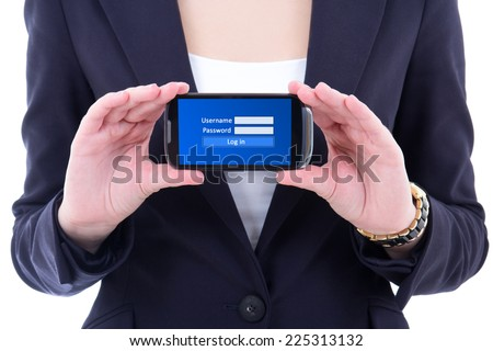 modern mobile phone with login panel on screen in female hands - stock photo