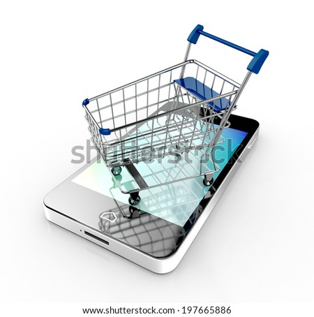 modern mobile phone with online shopping  concept. shopping cart. 3d illustration - stock photo