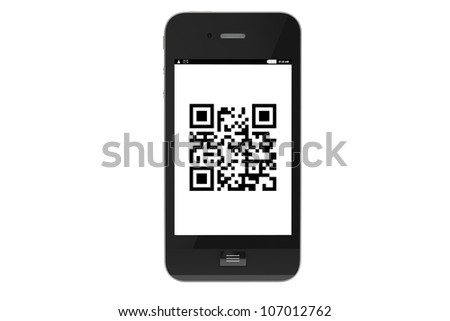 Modern Mobile phone with QR Code on a white background. - stock photo