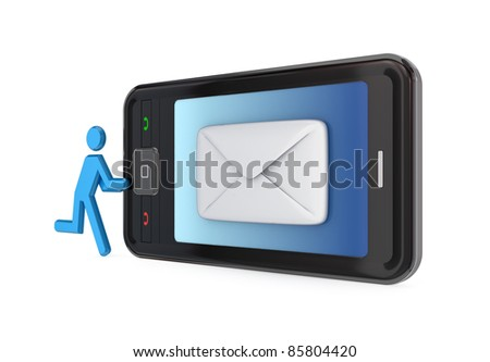 Modern mobile phone with white envelope on a screen.Isolated on white background.3d rendered. - stock photo