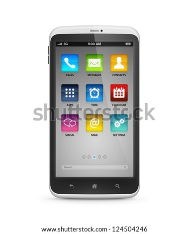 Modern mobile smartphone with application icons on a screen. High quality and very detailed illustration. Isolated on white. Include clipping path for phone and screen.