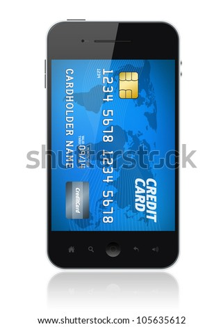 Modern mobile smartphone with credit card on screen. Mobile payment concept. Isolated on white. - stock photo